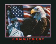 Statue, Eagle, and Flag Poster