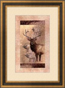 Majestic Elk with Mat and Frame